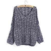 Grey V Neck Loose Textured Sweater