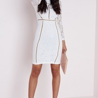 LACE LADDER DETAIL BODYCON DRESS WHITE
