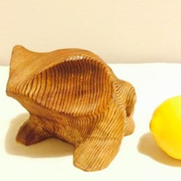 Fabulous Vintage Mid Century hand carved cryptomeria wood frog or toad