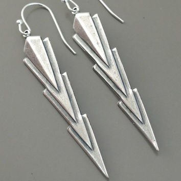 Vintage Earrings - Art Deco Earrings - Silver Earrings  - Chevron Earrings - Triangle Earrings - handmade jewelry