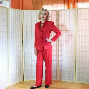Retro Red Hot Crepe Pant Suit . Vintage 80's does 40's . Satin Surplice Collar & Bow . CDC Caren Desiree label . 40's style slacks . size 6