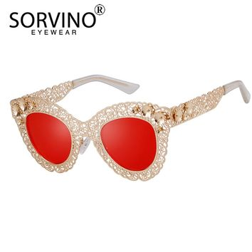 SORVINO Vintage Gold Oversized Cat Eye Sunglasses Women 2018 Luxury Brand Retro Goggles Trendy Festival Sun Glasses Shades SP169