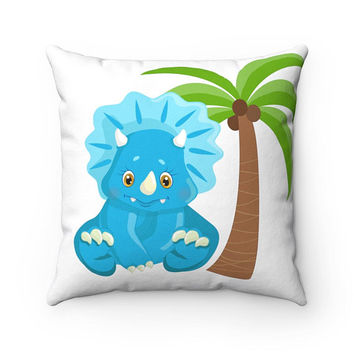 Cute pillow for kids with dinosaur and palm, Gift for kids, Kid's room decoration, Gift ideas, Pillows for kids