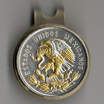 Gorgeous  2-Toned Gold & Silver Mexican eagle  coin  - Golf Ball Marker - Hat Clips