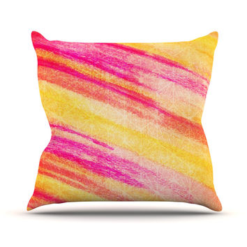 "Ebi Emporium ""All That Jazz"" Yellow Pink Throw Pillow"