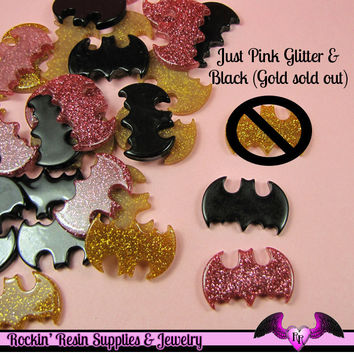 5pc  Black and Glitter Bat  Flatback Resin Decoden Cabochons 27x17mm