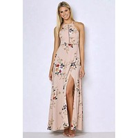 Halter Floral Backless Maxi Dress - Nude