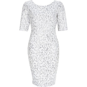 River Island Womens White sparkly 3/4 sleeve bodycon dress
