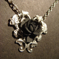 Black Rose Necklace with Beautiful Heart Vines by CreepyCreationz