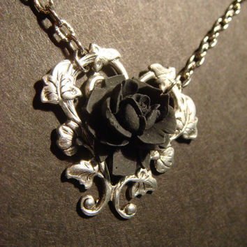 Black Rose Necklace with Beautiful Heart Vines