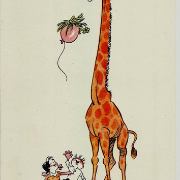Ingenuity Helped, Vintage Russian Kids Postcard, Illustrator Andrianov, print 1964