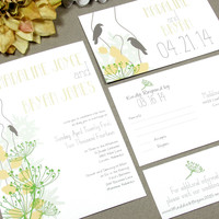 Love Birds Rustic Wedding Invitation Set by RunkPock Designs / Modern Handwritten Leaf Spring Wedding Suite shown in green, pale yellow, tan