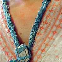 What Was Before: Gypsy Mermaids Necklace, Sea Washed Ceramic & Fabric