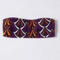 Bantu Three-Strap Bandeau Bikini by Anthropologie Purple Motif M Swimwear