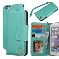 iPhone 6 Case,(4.7),[Upgraded-Opened Volume and Power Button Ports,no Break Issues] By HiLDA,Wallet Case,PU Leather Case,Credit Card Holder,Flip Cover Skin[PureGreen]