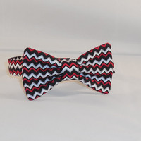 Black, Red and White Chevron Boy's Bow Tie With Adjustable Closure