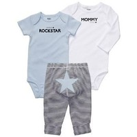 Amazon.com: Carters Boys Newborn-12 Months Blue 3 Piece Star Onesuit Pant Set (Newborn, Blue): Clothing