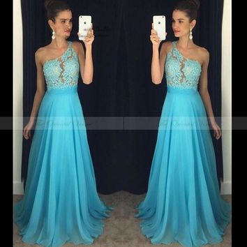 Free Shipping One Shoulder Blue Bridesmaid Dresses Under 100 Applique Lace Beaded Illusion A Line Coral Long Wedding Party Dress