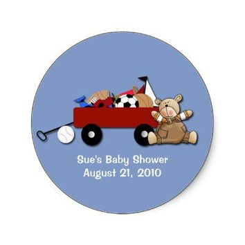 Little Red Wagon Teddy Bear Sports Custom Sticker from Zazzle.com