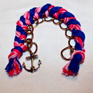 Curve Cain Woven Bracelet with Anchor Charm by p4pministry on Etsy