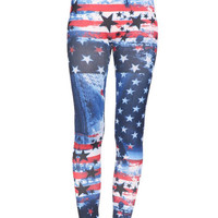 USA Flag Leggings American Flag Digital Print Leggings