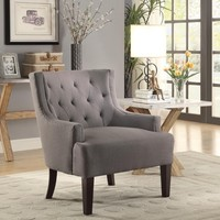 Fabric Upholstered Accent Chair With Arms In Gray