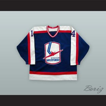 Ed Jovanovski 14 Windsor Spitfires Blue Hockey Jersey