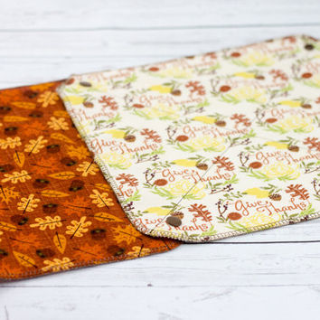 Reusable Paper Towel Roll, Unpaper Towel Roll, Autumn, Fall, Thanksgiving Kitchen Towel Set, Set of 6 Snapping Unpaper Towels