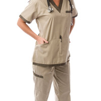 Women's Green & Khaki Contrast Uniform Scrubs