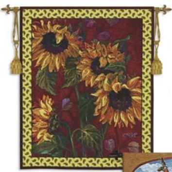 French Sunflowers II Botanical Floral Still Life Woven Wall Tapestry