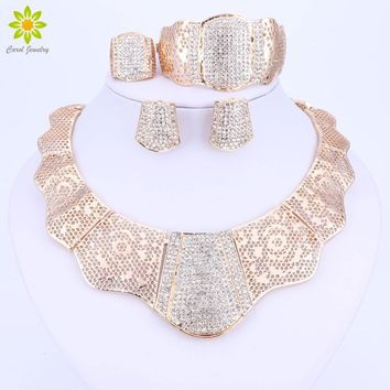 African Nigerian Wedding Jewelry Set Gold Color Crystal Necklace Earrings Bracelet Rings Sets Costume Accessories