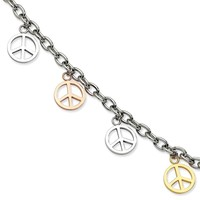 Stainless Steel Multicolor Peace Signs Charm Adjustable Bracelet