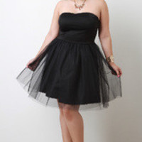 Black Sweetheart Tulle Dress in Plus Sizes