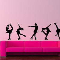 Room Wall Decor Vinyl Sticker Room Decal Art Design Ice Skating Girls Silhouette Gymnastics 828