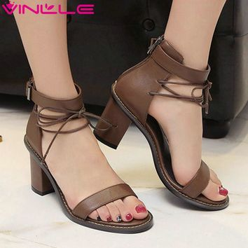 VINLLE Leather Wedge Sandals