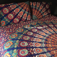 mandala tapestry KANTHA quilt made with your favorite design, mandala comforter, kantha quilt, mandala tapestry bedding