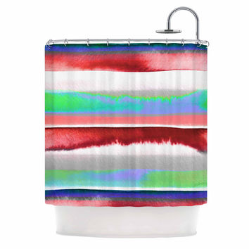 "Ebi Emporium ""Prism Stripe 2"" Red Blue Shower Curtain"