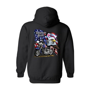 Unisex Zip Up Hoodie USA Flag American Pride Motorcycle