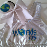 Cheerleading Worlds Metallic Sports Bra and Bow Set Cheerleading
