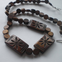 Natural Wood and Flower Carved Bone Beaded Necklace by PhreshThreadz