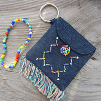 70s Denim Hippie Wallet w/ Beaded Bracelet // Vintage Jean Purse // Keyring