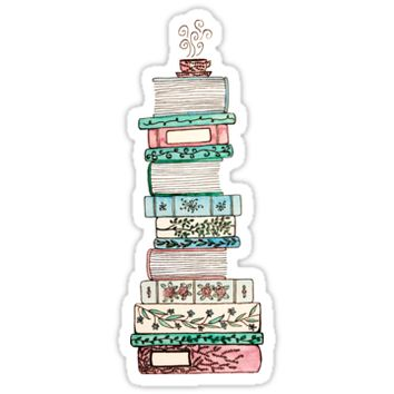 'Pink and Blue Floral Bookstack' Sticker by Emma Mildred Riggle