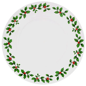Bulk Holly Berry White Stoneware Dinner Plates, 10.5 in. at DollarTree.com