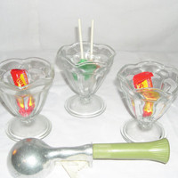 3 vintage Ice Cream Sundae dishes Anchor Hocking pedestal glass Bowls, Parlor style