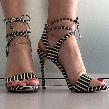 Black Wedge Summer Strappy Ankle Sandals