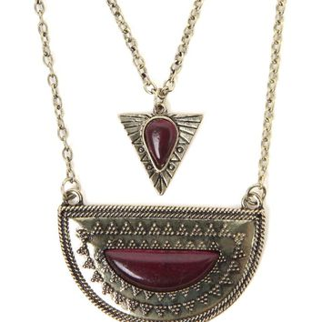With Love From CA Layered Triangle Crescent Necklace - Womens Jewelry - Red - One
