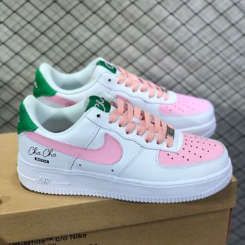 DCCK N786 Nike Air Force 1 Essential CHA CHA Matcha Off White Shoebox Low Skate Shoes White Pink