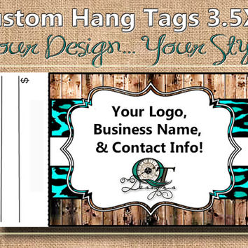 Leopard  Print Custom Hang Tag Business Card Style Printing  Matte  3.5 x 2 inch cards Design services available Sales Tags Shop Tags