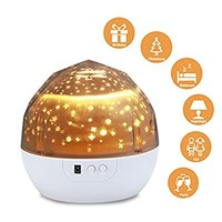Starry Night Light Lamp,SlowTon Romantic 3 Modes Colorful LED Moon Sky Dreamer Desk Rotating Cosmos Starlight Projector for Children Kids Baby Bedroom (White)