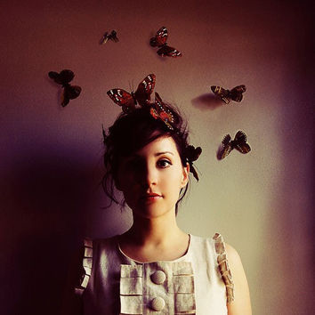 Butterfly Portrait, 5x5 Photograph, Hush, Woman with Butterflies Print, Maroon Color